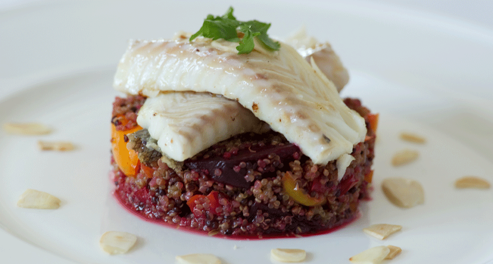 Succulent sustainably sourced cod with roasted vegetables and quinoa