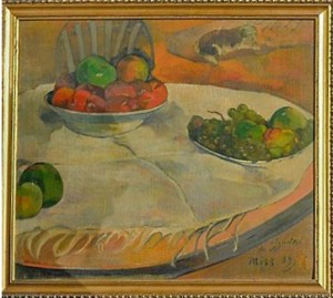 Fruits on a Table or Still Life with a Small Dog