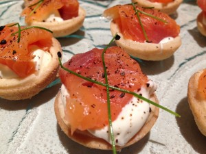 Exquisite canape smoked salmon blinis with a twist from a canape event in London
